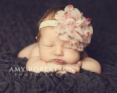 Mesh floral flower baby headband