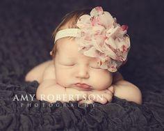 Mesh floral flower baby headband