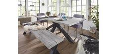 Abverkaufsschnäppchen: Essgruppe Natura Madison bestehend aus Tisch mit Waldkante, Bank und drei Stühlen. Gleich anschauen bei Spitzhüttl Home Company in Neubrunn bei Würzburg.