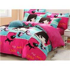 Modern Girl and Kitty Cotton Kids Bedding Sets Kids Bedding Sets, Bed Sets, Cute Bears, Duvet Cover Sets, Comforters, Kitty, Blanket, Modern, Cotton