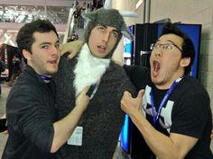Mark, Captainsparklez, and the creator of goat simulator! Marks face XD