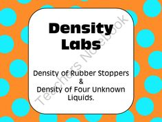 Density: Labs and Problem Sets from AwesomeScience on TeachersNotebook.com (11 pages)  - Great for scientific investigation & lab skills!