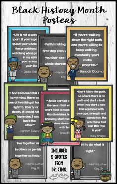 Display these posters in your classroom / bulletin board during Black History Month or for Martin Luther King, Jr. Day. Have students analyze these quotes using the included worksheet. Available with white backgrounds also.