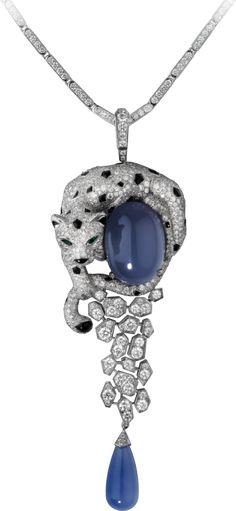 Panthère de Cartier necklace chalcedonies, diamonds, emeralds, onyx save by Antonella B. Rossi