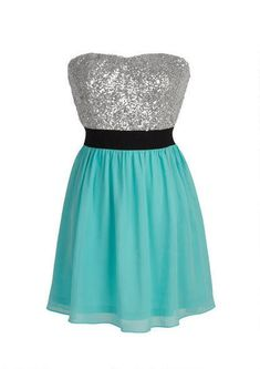 Beautiful dress with a teal bottom, sparkly black belt, and shimmery white top! :)