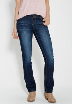 """Ellie straight jeans in dark wash (original price, $29.00) available at #Maurices """"On my wish list #wishpinwinsweepstakes #discovermaurices."""""""