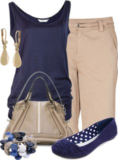"""""""Blue & Khaki"""" by colierollers on Polyvore"""