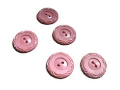5 pink buttons with curves on the edges 7/8 inch