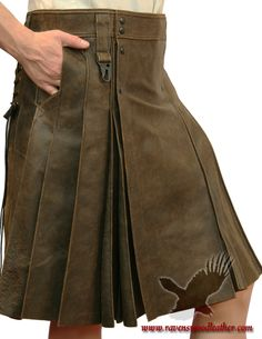 Ravenswood Leather Clothing for Renaissance Garb, Cosplay Costumes and Daily Fashion Daily Fashion, Mens Fashion, Butch Fashion, Leather Kilt, Suede Leather, Modern Kilts, Renaissance Garb, Skirt Fashion, Fashion Outfits