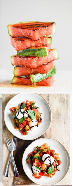 Grilled Watermelon Caprese Salads with Balsamic I howsweeteats.com