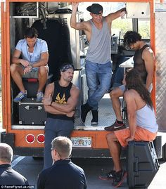 Muscle mania: (L-R) Matt Bomer, Joe Manganiello, Channing Tatum, Adam Rodriguez and Kevin Nash were spotted shooting scenes for their upcoming movie Magic Mike XXL in Tybee Island, Georgia, on Monday