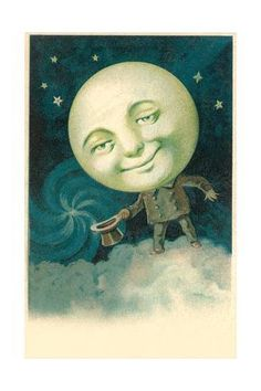 Art Print: Benevolently Smiling Moon : 24x16in