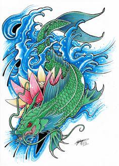 my koi dragon tattoo design coloured 3 by shannonxnaruto watch designs . Dragon Tattoo Drawing, Koi Dragon Tattoo, Small Dragon Tattoos, Koi Fish Tattoo, Japanese Dragon Tattoos, Japanese Tattoo Art, Dragon Tattoo Design Simple, Dragon Tattoo Designs, Koi Fish Colors