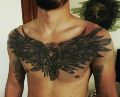 Cuervo Chest Tattoo Wings, Eagle Chest Tattoo, Chest Piece Tattoos, Eagle Tattoos, Up Tattoos, Black Tattoos, Body Art Tattoos, Sleeve Tattoos, Tattoos For Guys