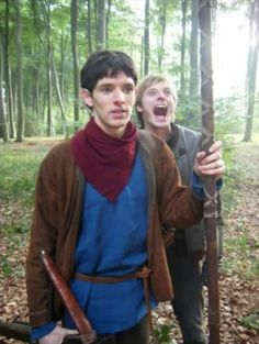 Colin Morgan & Bradley James - Merlin & Arthur Pendragon  BBC Merlin // That's soooo much like Bradley! Haha!