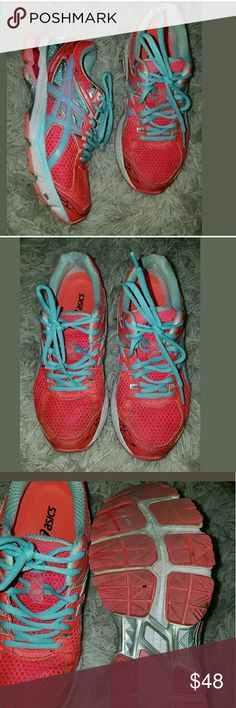 Asics IGS-1000 Duomax Running Shoes Asics IGS-1000 Duomax Running Shoes Neon Pink Tiffany Blue 7M   Good used condition.   LB Asics Shoes Athletic Shoes