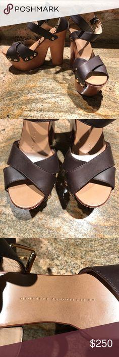 5b7335d24d82 Giuseppe Zanotti Wood Clog Platform Sandals