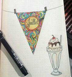 1ere page de juillet dans mon bullet journal... #bujo #bulletjournal #illustration #bulletjournaling #leuchtturm1917 #intemporellecreation #illustration #bulletjournallove #polychromos #dessin #juillet #mois