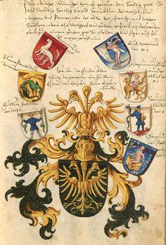 «Wappenbuch», Konrad Grünenberg, [S.l.] Bayern, [Copie] 1602-1604 [BSB-Hss Cgm 9210 - urn:nbn:de:bvb:12-bsb00034952-9] -- Bildnr.17: Fantasiewappen - Wappen der römischen Könige und Kaiser