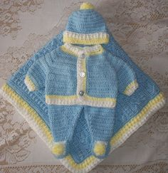 Crochet Baby Boy Sweater Set Layette with by MADEWITHLOVEBYSUZIEQ, $200.00