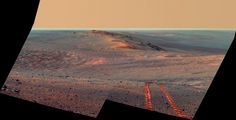 Opportunity Panorama - This scene from the panoramic camera (Pancam) on NASA's Mars Exploration Rover Opportunity looks back toward part of the west rim of Endeavour Crater that the rover drove along, heading southward, during the summer of 2014.  Credit: NASA/JPL-Caltech/Cornell Univ./Arizona State Univ.  Read more at http://www.redorbit.com/images/pic/89212/mars-opportunity-rover-panorama-endeavour-crater-091014/#vqSB14PeCTYrRWhW.99