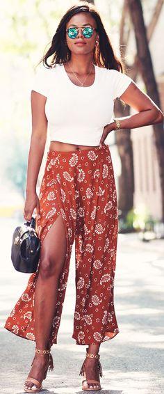 Dadou-chic Paisley Culottes Outfit Idea