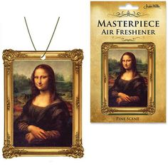 Do you smile to tempt a lover, Mona Lisa? Or is this your way to hide a broken heart? Spoiler Alert! SHE'S SMILING BECAUSE IT SMELLS GOOD! Turn your car into a smelly museum with an aromatic masterpiece! Our Mona Lisa Masterpiece Air Freshener has a pine scent as common as she is unique.