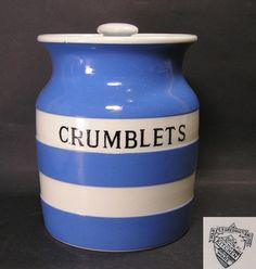 T.G.Green Cornish Ware Crumblets jar. A unique lettered jar which sold on eBay on 18/10/2016 for £930 Hard Sided Luggage, Cornishware, Cottage Style Decor, Love Blue, Jar Storage, Yellow Stripes, Vintage Glassware, Selling On Ebay, Kitchenware