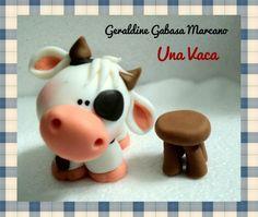 Cute cow polymer clay