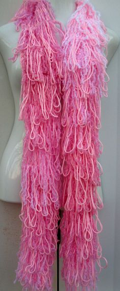 Shaggy loopy Fringe Pink scarf by Elegantcrochets on Etsy, $45.00