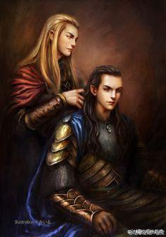 Thranduil and Elrond Thranduil would be doing his hair (secretly an elvish hairdresser)