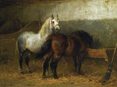 Horses in a Stable, Otto Eerlman @ Illusions Gallery Paintings I Love, Animal Paintings, Horse Paintings, Horse Silhouette, Painted Pony, Vintage Horse, Horses And Dogs, Horse Drawings, Horse Print