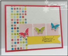 Connie used Bloomin' Marvelous (SAB), Sunshine & Sprinkles dsp, Honeycomb embossing folder, & Bitty Butterfly punch in her delightful card.