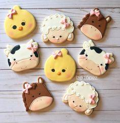 Sugar Cookie Icing, Best Sugar Cookies, Royal Icing Cookies, Cupcake Cookies, Cupcake Cake Designs, Cookie Designs, Farm Animal Cupcakes, Farm Cookies, Farm Animal Birthday