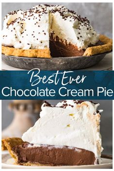 Believe me when I tell you, this is the best chocolate cream pie recipe you will make! It& so perfect for the holiday season and it& quick and easy to make. Decadent and creamy, this is the dessert you need to be serving this Thanksgiving! Homemade Chocolate Pie, Chocolate Pie Recipes, Chocolate Pies, Best Chocolate Desserts, Recipe For Chocolate Cream Pie, Chocolate Cream Cheese Cake, Chocolate Pudding, Bite Size Desserts, Köstliche Desserts