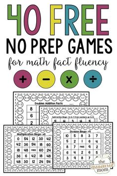Grab these free printable games for math facts practice at school or home! You'll get a total of 40 games for students to practice addition, subtraction, multiplication, and division. Great for building math facts fluency! Kindergarten Math Games, Math Games For Kids, Teaching Math, Kids Math, Math Activities, Student Games, Math Classroom, Student Loans, Summer Activities