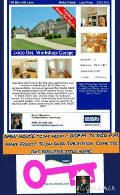 OPEN HOUSE today from 1: 00P.M. to 5:00 P.M. Wake Forest. Siloh Glen Subdivision. Come see this executive style home! Executive Style, Executive Fashion, Wake Forest, Garage Workshop, Come And See, Square Feet, Open House, Cities, Homes