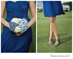 Basically my color scheme, but I want a darker blue (navyish) dress with blue and light green hydrangea.