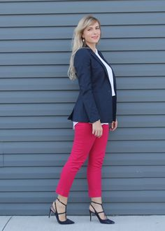 Navy & Pink is a stylish way to brighten your office wear. Click through to the blog for the details of this outfit and more work outfit ideas!
