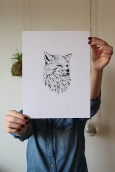 Black and White Print of Illustrated Fox by BethanyGosvener