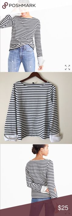 J.CREW BOATNECK TEE WITH CUFFS🦋 2017 Sold Out This J.CREW Top is so adorable and perfect for any season. Wear this top to work or for a casual day out. It's in good used condition. This is from J.CREWS 2017 collection and is currently sold out online. No trades. All my items come from a smoke free home. Thanks for looking. J. Crew Tops Tees - Long Sleeve