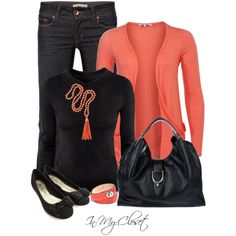 Black jeans (leggings), black shirt & black shoes (boots) with coral sweater & necklace (scarf)