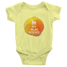 My Mum Rocks Yellow Infant short sleeve one-piece