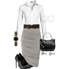 A fashion look from December 2013 featuring white button up blouse, jupe crayon et chaussures à talon haut. Browse and shop related looks.