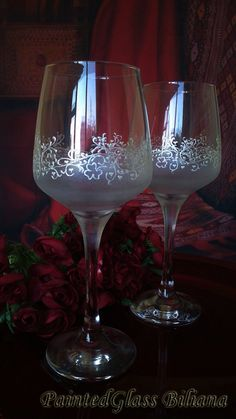 Set of 2 hand painted wine glasses Lace of by PaintedGlassBiliana