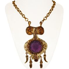 1960s Runway Necklace Etruscan Style Violet Crystal by PearlModern, $195.00