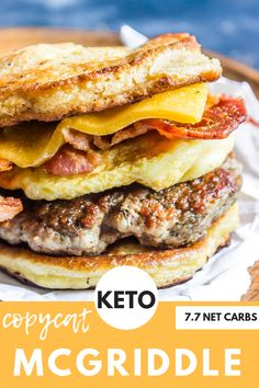 is the BEST Keto Breakfast Sandwich that's tailored after the ever famous McGriddle from McDonalds.This is the BEST Keto Breakfast Sandwich that's tailored after the ever famous McGriddle from McDonalds. Keto Foods, Ketogenic Recipes, Low Carb Recipes, Pork Recipes, Best Keto Breakfast, Ketogenic Breakfast, Breakfast Recipes, Mcdonalds Breakfast, Dinner Recipes