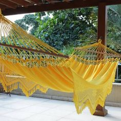 Buy Cotton hammock with spreader bars, 'Tropical Yellow' (single) today. Each original piece goes through a certification process to guarantee best value and premium quality. Brazilian Hammock, Garden Hammock, Spreader Bar, Beach Bars, Beach Cottages, Beach Themes, Vintage Style Outfits, Outdoor Furniture, Outdoor Decor