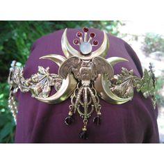 Five moon owl garnet moonstone brass crown tiara circlet ($168) ❤ liked on Polyvore