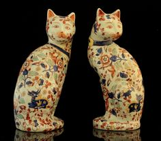 Pair of Japanese Imari porcelain cat figures. Japanese / Japan Antiques : More At FOSTERGINGER @ Pinterest
